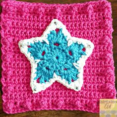 """Free written pattern and video tutorial for a Star Applique. """"Like a Boss"""" Blanket Series Crochet Star Square Pattern."""
