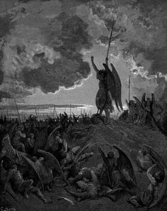 """Gustave Dore - Illustration to Paradise Lost by John Milton - 3 - Satan talks to the council of Hell - """"They heard, and were abashed, and up they sprung"""" Gustave Dore, Paradise Lost Book, John Milton Paradise Lost, Saint Dominique, Lila Baby, Pale Horse, Illustrator, Satanic Art, Ange Demon"""