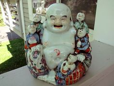 """8"""" Vintage Chinese Famille Rose Porcelain Happy Buddha Sitting Statue Children"""
