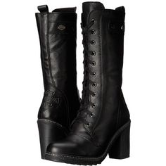 Harley-Davidson Lunsford (Black) Women's Pull-on Boots ($190) ❤ liked on Polyvore featuring shoes, boots, pull on boots, black platform shoes, black zipper boots, long black boots and lace up boots