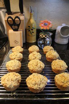 Cornmeal Molasses Crumb Muffins on wire rack