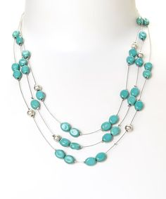 Look at this Treska Turquoise & Silvertone Triple-Strand Bead Necklace on #zulily today!