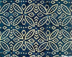 Island Motif Batik in Navy from the 'Tonga Calypso' collection by Timeless Treasures