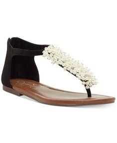 Image 1 of Jessica Simpson Kenton Pearl-Embellished Flat Sandals