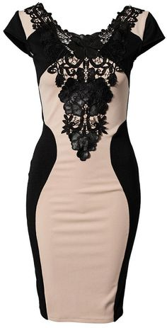 Contrast Lace Bodycon Dress