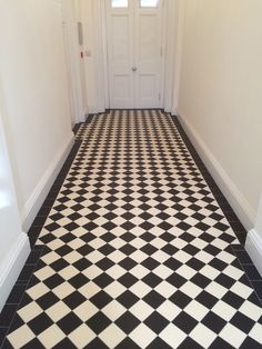 Victorian tiles for floors and walls in our Bristol showroom. Victorian Hallway Tiles, Edwardian Hallway, Tiled Hallway, Tile Stairs, Black And White Hallway, Black And White Tiles, Classic Home Decor, Classic House, Classic Interior