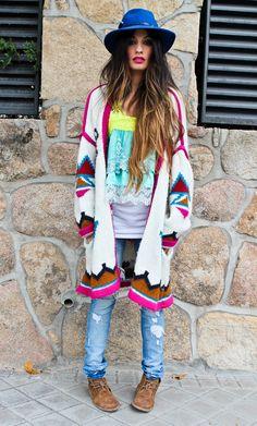 11/15/12 Zara cardigan & jeans & shoes, Sluiz Ibiza lace top, h&m white t-shirt, El Corte Ingles hat, MAC Girl About Town lipstick.