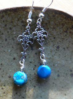 Blue sea sediment jasper and filigree charm by MarquisCreations
