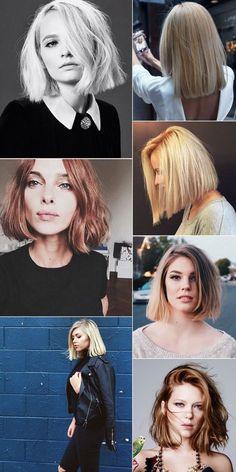 """Blonde Blunt Bob Haircut: O BB Cut é tendência para cabelos curtos em 2017. O corte reto """"brusco"""" é o queridinho das fashionistas. Super democrático, vai bem em cabelos curtos e médios e em diferentes texturas de cabelo. Cabelos loiros e platinados. Com franja reta fica super moderno.#Haircut #Hairstyle #CabelosCurtos #Fashionista #Penteados #Franja #Bangs #BluntBob #BBCut"""