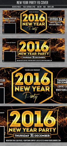 New Year Party Timeline Covers