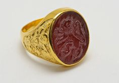 Custom Family Crest stone Gold Plated Silver Ring by Regnas, $495.00