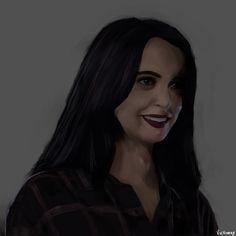 Portrait painting of Krysten Ritter as a smiling Jessica Jones