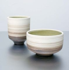 Items similar to 1 Striped Stoneware Cup by Sara Paloma on Etsy
