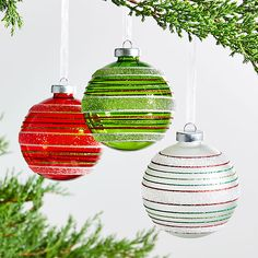 Sale ends soon. Shop Glass Striped Ball Ornaments, Set of Delicate lines of glitter frost green, red and white glass ball ornaments with sparkle and shine. Christmas Balls, Christmas Tree Ornaments, Christmas Crafts, Christmas Decorations, Holiday Decor, Glitter Frosting, Ball Ornaments, Glass Ball, Christmas Traditions