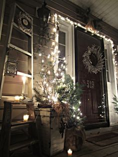 Down to Earth Style: Christmas Porch 2012;; love this look for the outside of a house at christmas! 95!