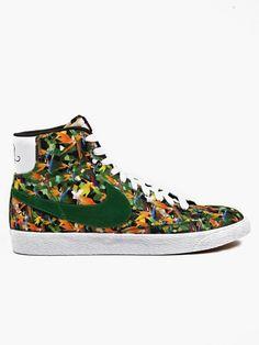 nike Green Men's Floral Print Blazer Mid VNTG QS Sneakers | oki-ni