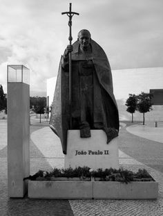 The dramatic statue of John Paul II stands in his beloved shrine of Our Lady of Fatima, Portugal (Flickr cactusbeetroot)