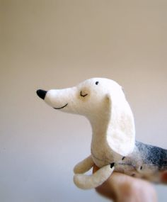Natasha - Felt Dachshund, Art Puppet, Lovely White Dog, Marionette, Felted, Cute StuffedToy. white brown grey neutrals.  MADE TO ORDER
