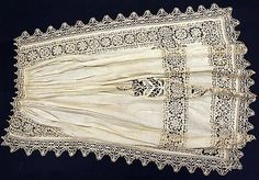 Apron  Date: early 17th century; Culture: Italian; Medium: linen; Dimensions: Length: 33 in. (83.8 cm); Accession Number: 38.19.9