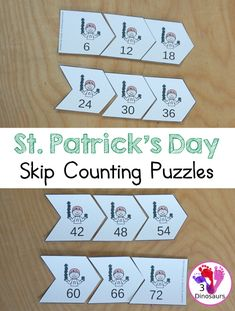Free St Patrick's Day Skip Counting 6 Puzzles - A fun arrow puzzles for kids to put all numbers in order skip counting by six with pictures - 3Dinosaurs.com #freeprintable #stpatricksday #skipcounting #firstgrade #3dinosaurs #skipcountingby6 St Patrick Day Activities, Counting Activities, Printable Activities For Kids, Math Games, Math For Kids, Puzzles For Kids, Homeschool Math, Homeschooling, Skip Counting
