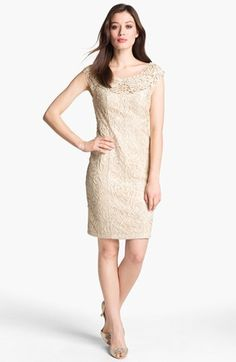 Sue Wong Soutache Cap Sleeve Sheath Dress