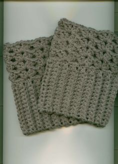 Crocheted Boot/Skate  Cuffs/Toppers-  GRAY or You Choose -  Free Shipping in US
