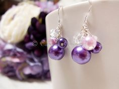 Purple Bridesmaids Earrings with Gift Box  by CarmelWedding on Etsy, $14.99