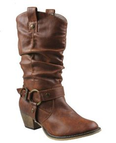 Get dressed up for a night at your local honky-tonk with these Women Tan Western Style Cowboy Boots. The Medium Width Faux Leather Womens Cowgirl Boots feature a 2 inch heel, o-ring buckle strap, a looped pull on strap, rounded toe and padded footbed. Cheap Cowgirl Boots, Womens Cowgirl Boots, Brown Cowboy Boots, Cowboy Shoes, Cheap Boots, Botas Western, Western Boots, Western Style, Western Cowboy