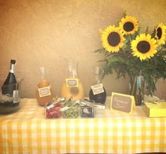 Prosecco Bar Under the Tuscan Sun Bridal Shower theme,minus the table cloth