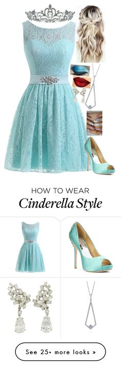 """""""Have Courage and Be Kind// Cinderella Inspired"""" by lilrawr on Polyvore featuring Badgley Mischka, Kate Marie and BERRICLE Disney Bound Outfits, Disney Inspired Outfits, Modest Dresses, Nice Dresses, Outfits For Teens, Cute Outfits, Princesas Disney, Badgley Mischka, Special Occasion Dresses"""