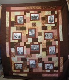Personalized photo quilt - Photo Frames in brown-peach - using ... : memorial quilt patterns - Adamdwight.com