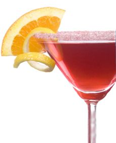 1 oz vodka  1/2 oz triple sec  1/2 oz Rose's® lime juice  1/2 oz cranberry juice    Shake vodka, triple sec, lime and cranberry juice vigorously in a shaker with ice. Strain into a martini glass, garnish with a lime wedge on the rim, and serve.      Read more: Cosmopolitan Cocktail recipe http://www.drinksmixer.com/drink234.html#ixzz27VFpzZJ8
