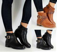 New Womens Ankle Boots Flat Low Heel Side Buckle Chelsea Cross Strap  Snakeskin
