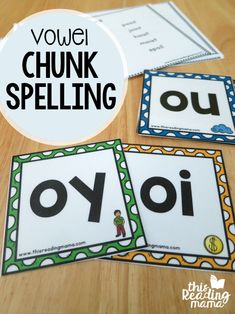 Free Vowel Chunk Spelling Cards and Word Lists - This Reading Mama Más Spelling Activities, Literacy Activities, Teaching Resources, Listening Activities, Autism Resources, Language Activities, School Resources, Summer Activities, Teaching Ideas