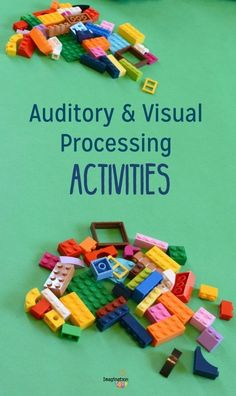 Today I want to share several fun LEGO activities for auditory and visual processing skills, two important brain functions that contribute to our reading and writing abilities. Auditory Processing Activities, Visual Motor Activities, Auditory Learning, Auditory Processing Disorder, Occupational Therapy Activities, Lego Activities, Listening Activities, Learning Disabilities, Physical Activities