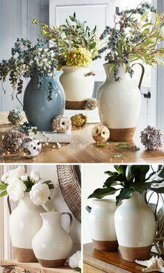 Farmhouse Pitchers   terra-cotta   farmhouse   rustic   home decor   spring decor ideas   floral pitchers #affiliate #ad