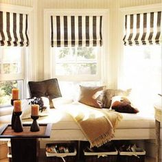 Window Treatment Ideas {Bay Windows}...not the stripes , great concept for windows that are close together