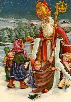 C'est la Saint-Nicolas ! French Christmas, Christmas Past, Victorian Christmas, Father Christmas, Vintage Christmas Cards, Christmas Pictures, Vintage Cards, Winter Christmas, Vintage Postcards