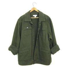 Vintage Army Green Jean Jacket 90s Dark Green Denim Grunge Jacket Over ❤ liked on Polyvore featuring outerwear, jackets, baggy denim jacket, olive denim jacket, green denim jacket, olive jacket and jean jacket