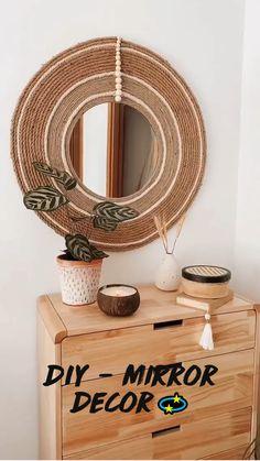 Diy Furniture Decor, Diy Crafts For Home Decor, Diy Crafts Hacks, Diys, Diy Mirror Decor, Mirror Crafts, Diy Wall Decor, Do It Yourself Baby, Boho Diy
