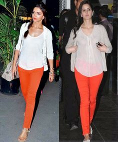 #Bollywood: Who looks better in red denim and white top - Katrina Kaif or Deepika Padukone?