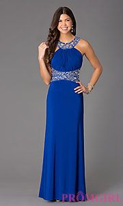 Buy Floor Length Sleeveless Dress with Jewel Detailing at PromGirl