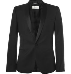 Saint Laurent Slim-Fit Wool Tuxedo Blazer | MR PORTER