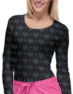 Style Code: A long sleeve tee that features a round neck, sleeve bands, and a shirttail hemline. Center back length: Cute Scrubs, Scrubs Uniform, Medical Scrubs, Heart Print, Hemline, Long Sleeve Tees, Fashionable Scrubs, Sleeves, Caregiver