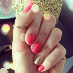 Coral and gold. Manicure done by @misschrisycharms on Instagram