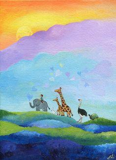 """Original painting """"Animal Parade"""" by Edie art"""