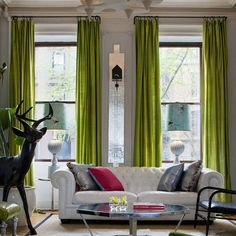 Eclectic Living Room with Silky Touch Window Curtains