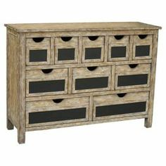 Love this chest with chalkboard panel details and a weathered finish.