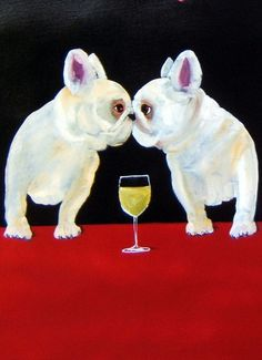 French Bulldog Art Print - Wine/Blond by M. Holzer