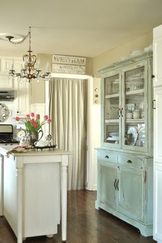 We love this Jennifer Rizzo #kitchen, soft tones with pop of soft blue. #Shabby #chic love.